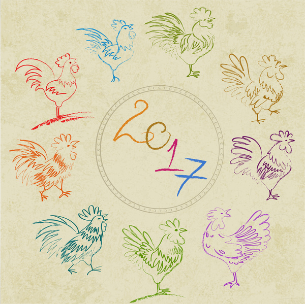 2017 template design with hand drawn cocks