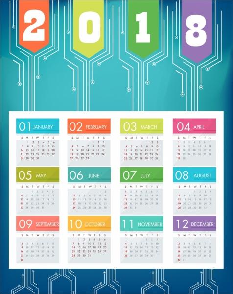 2018 calendar background blue modern decor technology style