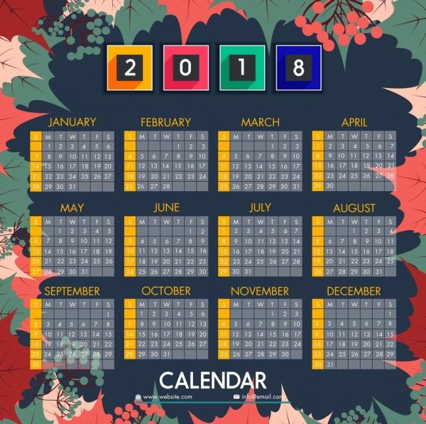 2018 calendar background colorful leaves fruit decoration