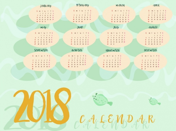 2018 calendar background marine fishes decoration free vector in