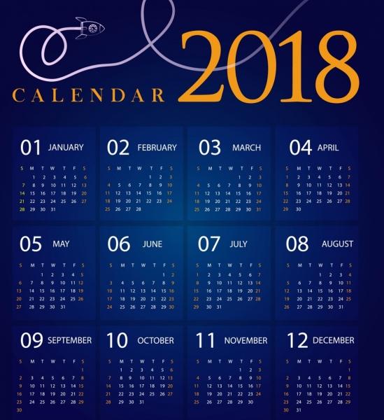 2018 calendar design dark blue decoration spaceship icon