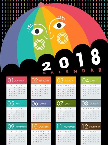2018 calendar design stylized colorful umbrella icon free umbrella vector logo umbrella vector png