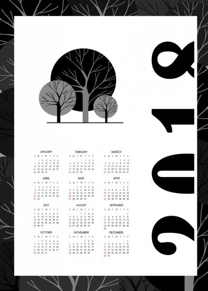 2018 calendar template black white design tree icons