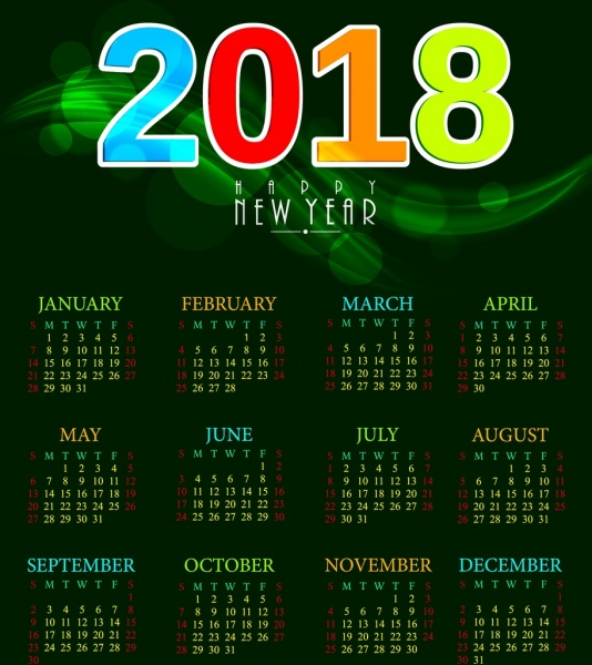 2018 calendar template green bokeh background colorful numbers
