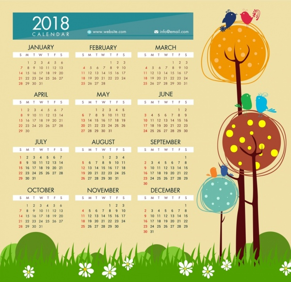 2018 calendar template hand drawn cartoon style
