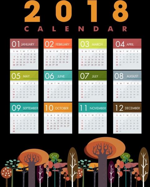 2018 calendar template multicolored tree icons decor