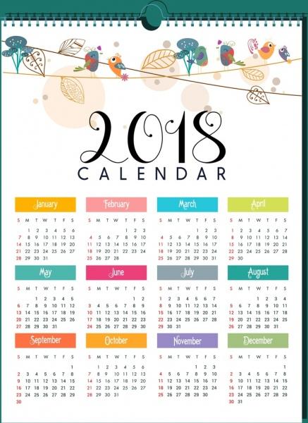 2018 calendar template natural bird leaves decor