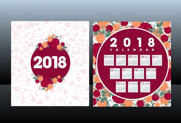 2018 calendar template red roses background decoration