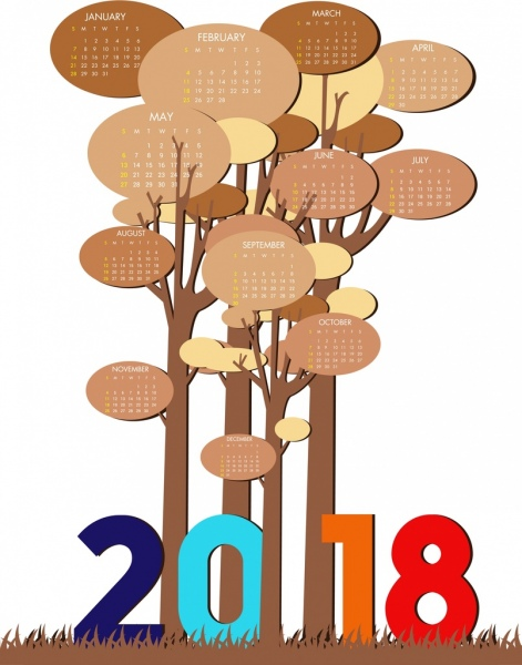 2018 calendar template tree icons decor geometric design