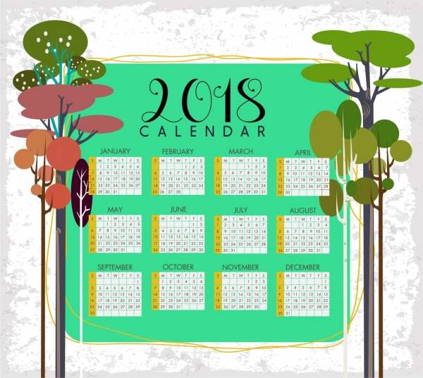 2018 calendar template tree icons decoration