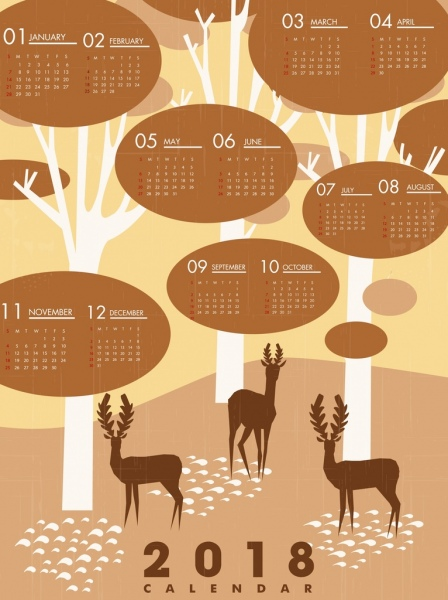2018 calendar template wild forest background reindeer icons