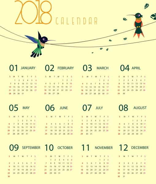 2018 calendar template woodpecker icons decoration