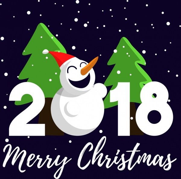 <b>2018 christmas</b> poster snowman fir tree icons ornament Free vector ...