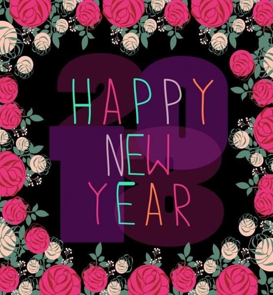 2018 new year background colorfu roses decoration