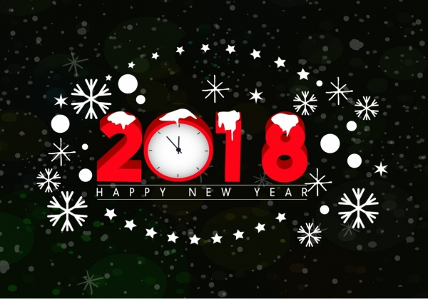 2018 new year banner clock snowflakes icons decoration