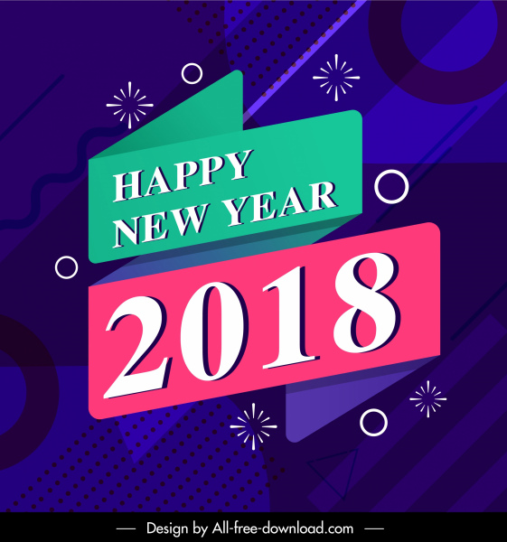 2018 new year banner contrast colorful abstract decor