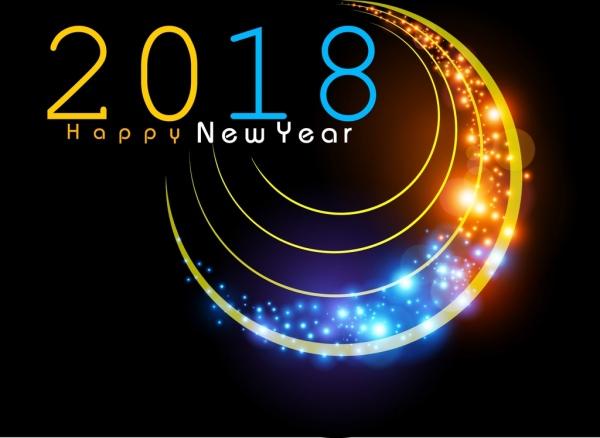 2018 new year banner curves decor sparkling light