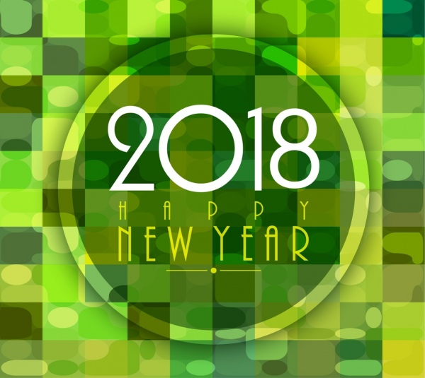 2018 new year banner green bokeh decoration