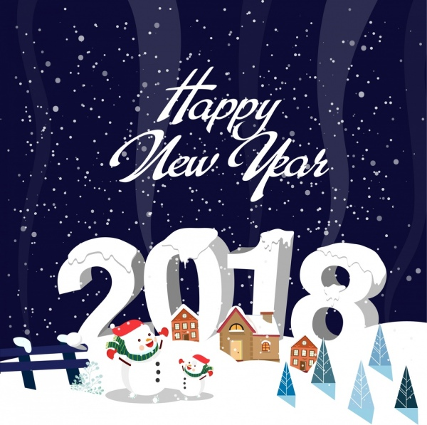 2018 new year banner snowy background snowman icons