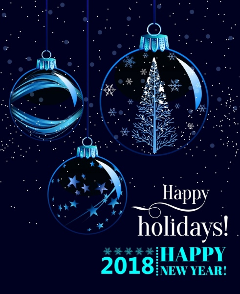 2018 new year banner transparent baubles decoration