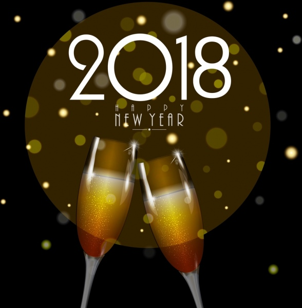 2018 new year banner wineglass icons bokeh backdrop