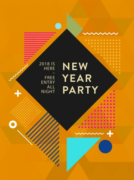 2018 new year party banner abstract geometric decor