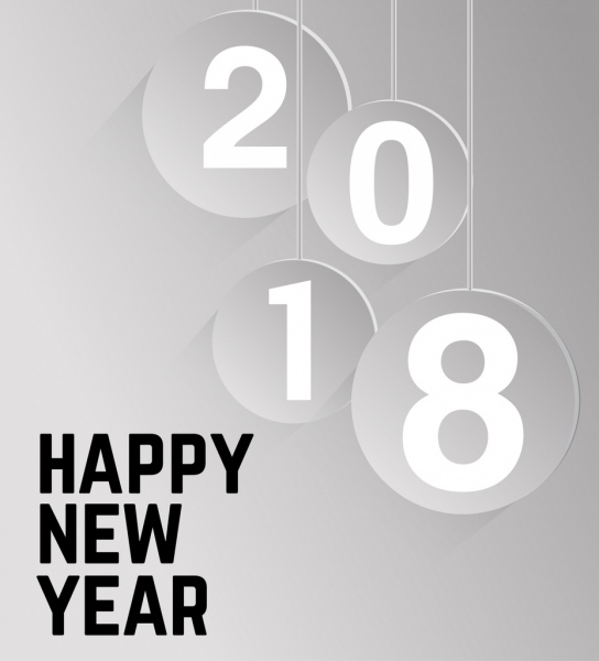 2018 new year poster hanging number icons decor Free vector in Adobe ...