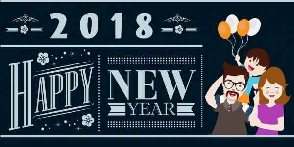2018 new year template family icon classical calligraphy