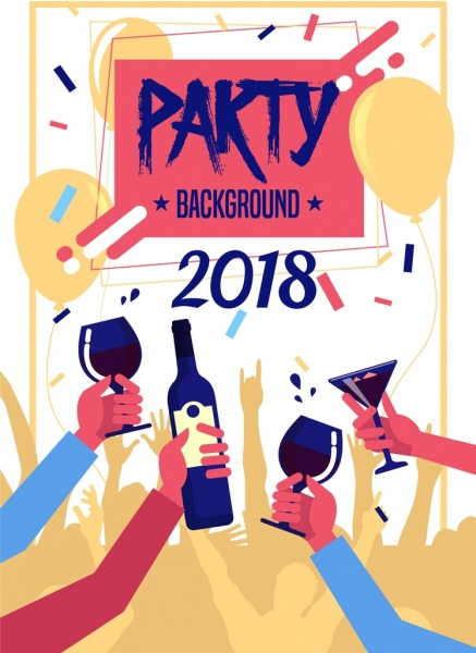 2018 party background grunge design clinking hands icon