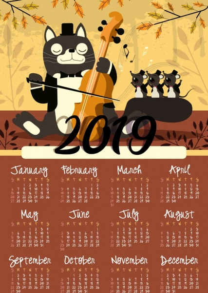 2019 calendar background animal theme stylized cat mice