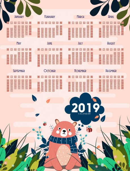 2019 calendar background cute bear bees leaves decoration