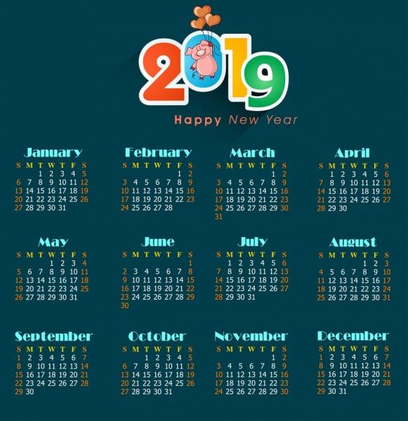 2019 calendar background dark decor pig icons