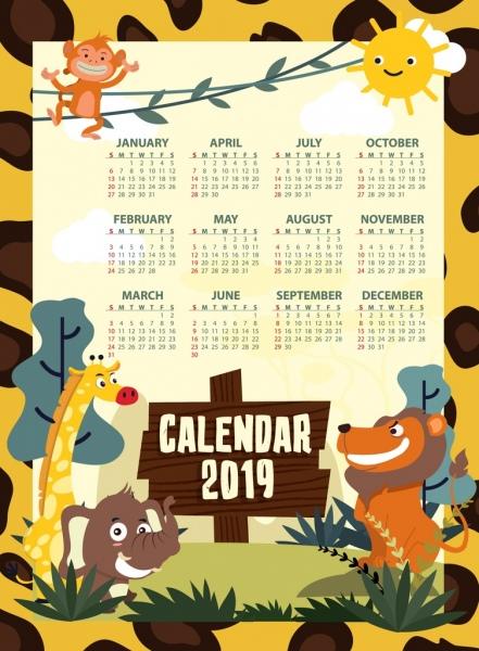 2019 calendar template animal theme decor