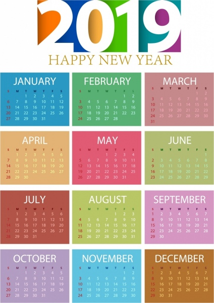2019 calendar template colorful modern decor