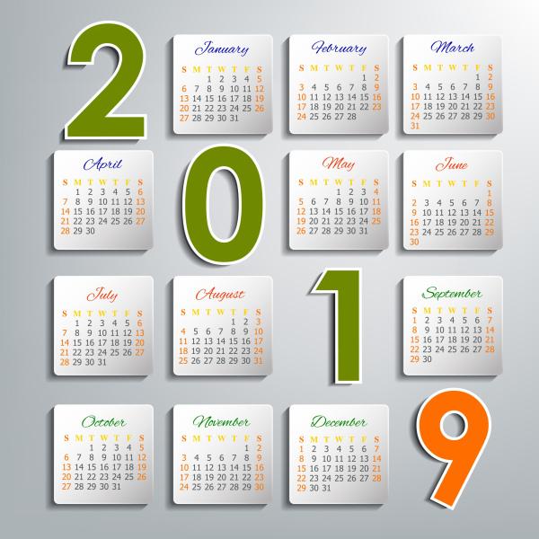 2019 calendar template modern bright layout