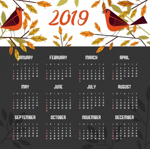 2019 calendar template nature theme birds leaves icons