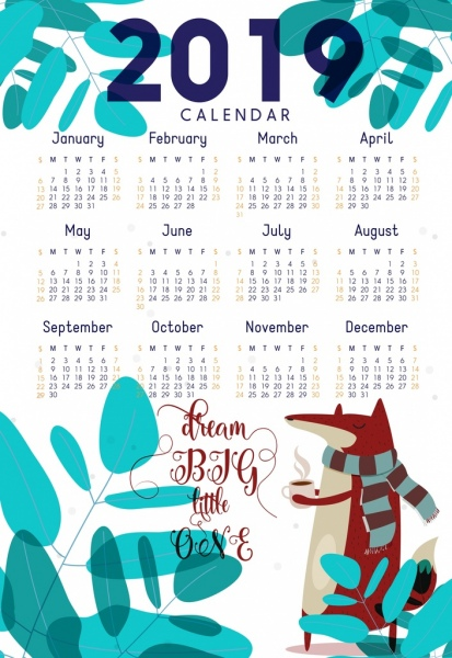 2019 calendar template nature theme fox tree icons