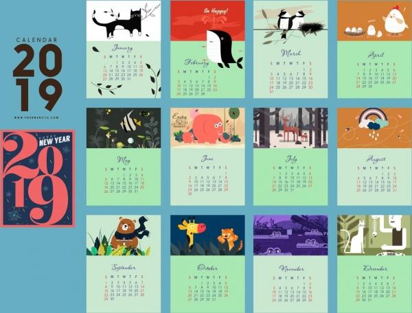 2019 Calendar Template Nature Theme Rectangular Isolation Free