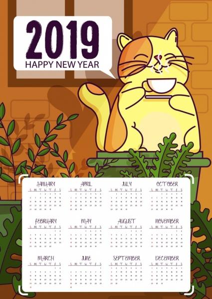 2019 calendar template relaxing cat icon cartoon design free vector