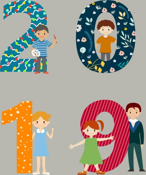 2019 new year background kids icons numbers decoration
