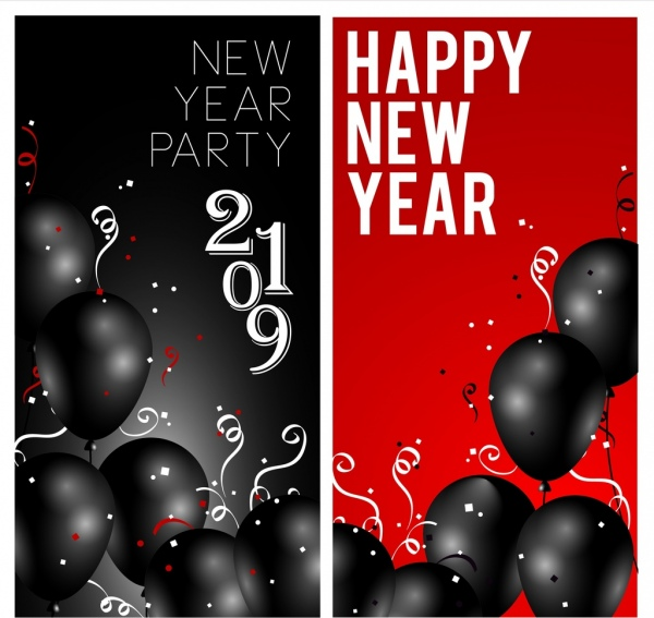 2019 new year banner black red balloons decor