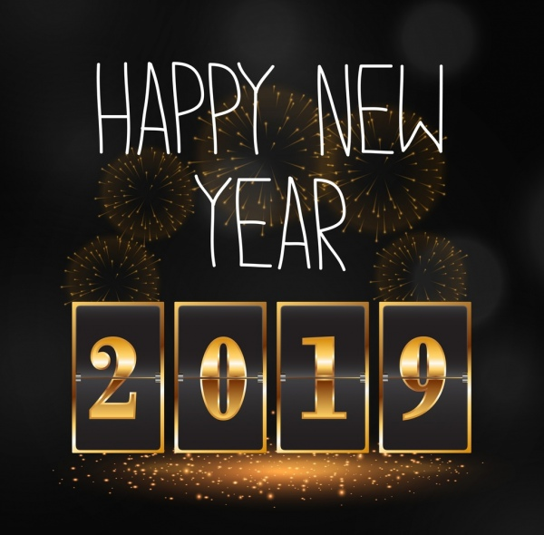 2019 new year banner yellow numbers fireworks decor