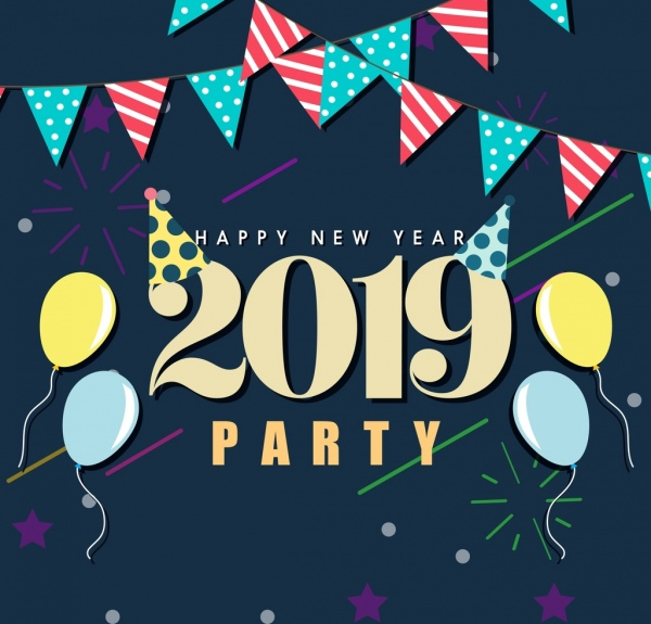 2019 new year party banner ribbon balloon decor