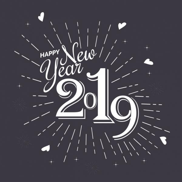 2019 new year poster black white calligraphic decor