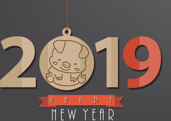 2019 new year poster flat number pig icons
