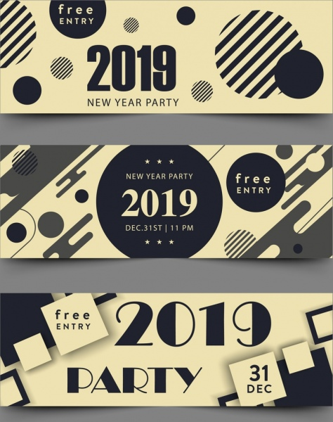 2019 new year ticket template modern geometric decor