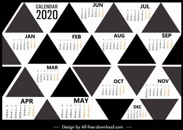 2020 calendar template black white geometric triangles decor