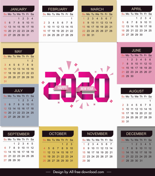 2020 Calendar Template Bright Modern Colorful Plain Decor Free Vector In Adobe Illustrator Ai Ai Format Encapsulated Postscript Eps Eps Format Format For Free Download 6 17mb