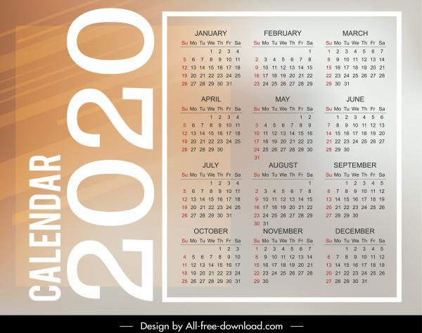2020 calendar template bright modern plain vertical layout