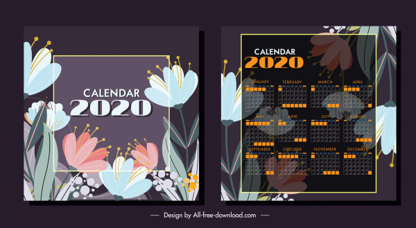 2020 calendar template classic floral decor blurred design